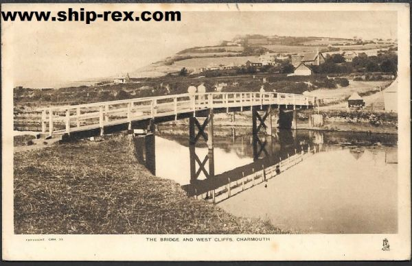 Charmouth, The Bridge & West Cliffs - Tuck's Postcard